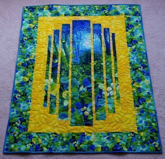 WOW this #Handmade #forest Scene #ModernQuilt is #BEAUTIFUL! Great #Wedding, #Birthday, or #Anniversary Gift #Bright Perfect for #Birthday, #Giftsforhim #GiftsforHer #GiftsforTeens #handmade #Gifts make the best #Giftideas!