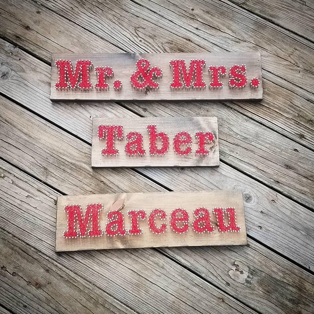 Hope these newly weds are enjoying their signs! 👰🤵#wedding #weddinggift #giftforbride #giftforgroom #weddings #family #friends #homedecor #giftforfriend #stringart #etsy #newengland #madeinmaine #maine #custom #handmade #weddingsign #weddingdecor #rustic #engaged #bridalshow…