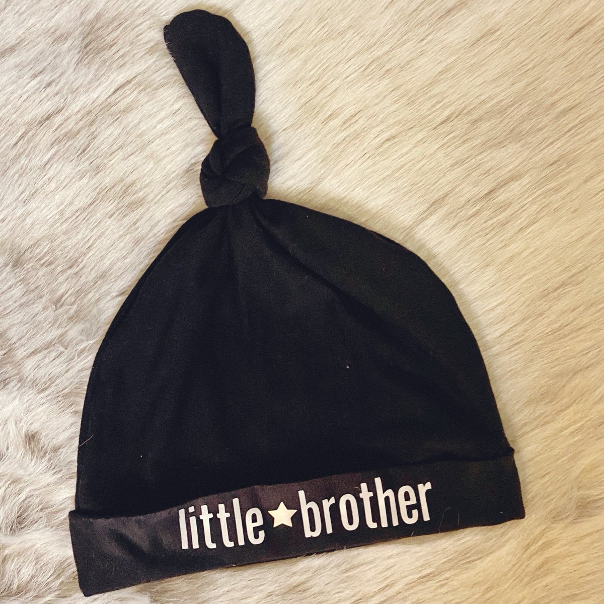 Little brother hat now available in my #etsy shop: Custom Baby Knot Hats in Black White, Teal, Camel, Red, White, Pattern Newborn 0-3 Soft Baby Hats  #accessories #1stbirthday #white #baby #newborn #03months #vinyl #custom #cat