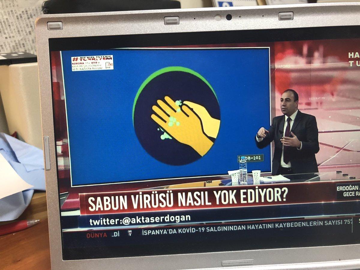 結構すごいと思うんだけど。トルコのニュース番組。水と石鹸で手を洗うことが、コロナウイルスになぜ効果があるかを説明してる。界面活性剤が脂質に対してどう作用するかを動画で説明。コロナウイルスの殻を壊すから、慌てず石鹸をつけてから最低20秒以上おいてから流すように解説。