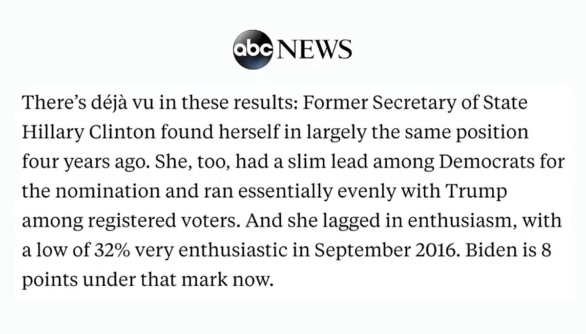 Enthusiasm for Biden is 8pts lower than HRC's lowest point in 2016. This is a Joe Biden problem, not a Bernie Sanders and working class voters problem.