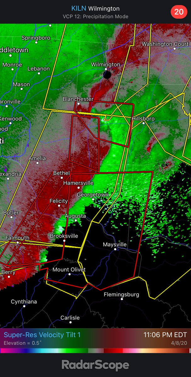 """Classic QLCS with multiple tornado warned """"notches"""" east of Cincinnati tonight. Hope those folks are taking their tornado precautions. #wxtwitterpic.twitter.com/66LPnvTO5H"""