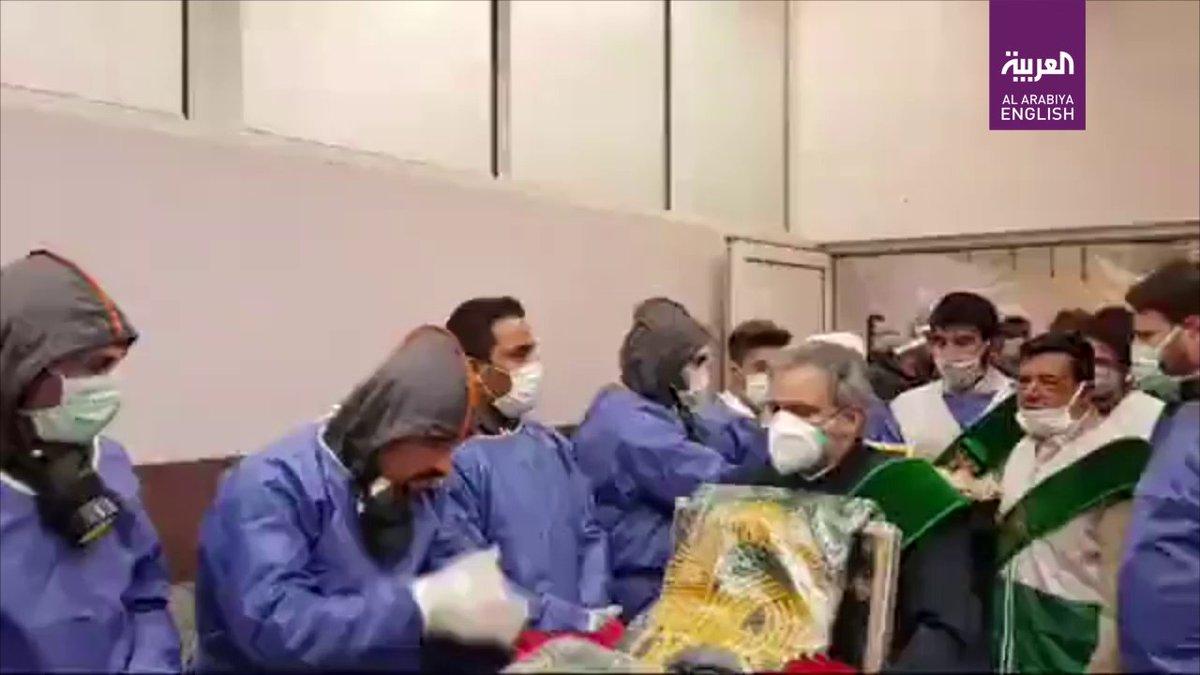Video: Medical staff in an Iranian hospital are seen kissing a religious piece of cloth to protect them against #coronavirus, according to a video circulating on social media. #Iran #COVID_19 english.alarabiya.net/en/coronavirus…