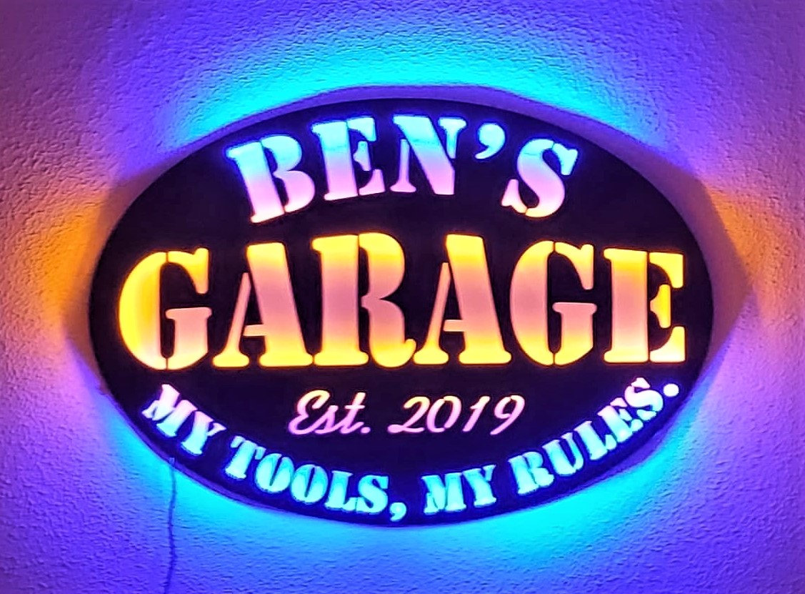 Personalized Shop Man Cave My Garage My Rules LED Lighted Sign, gift for him, Christmas Gift husband, Gift for dad  #housewares #homedecor #black #white #garage #unframed #myshopsign
