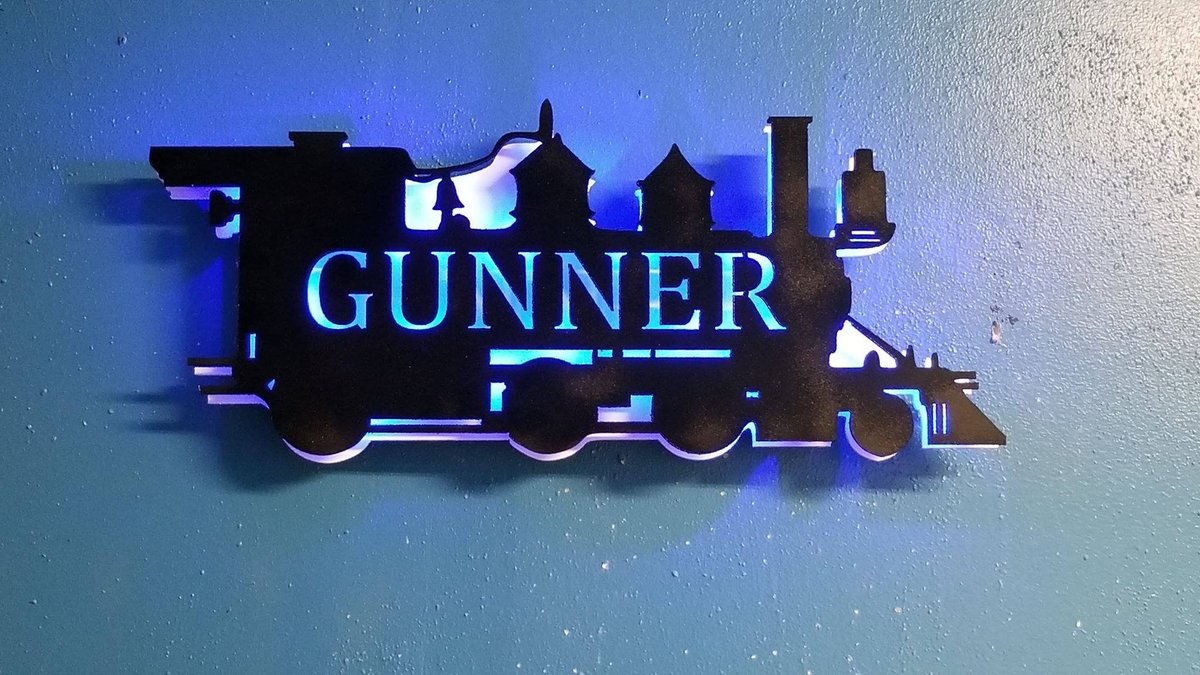 Excited to share the latest addition to my #etsy shop: Train steam engine Locomotive Personalized Boys Room Lighted Wall Sign, Boys Night Light, Gift for son,  #housewares #homedecor #black #white #bedroom #trainengineer #boyswalldecor #lightedwa