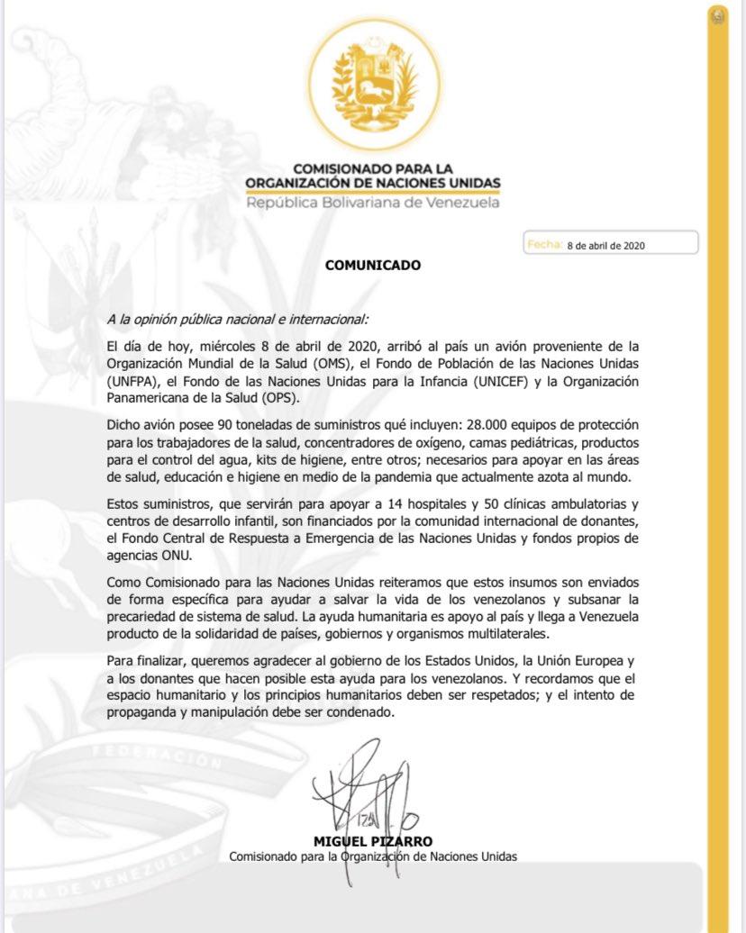 COMUNICADO   Comisionado @Miguel_Pizarro agradece a países, organismos y comunidad de donantes por ayuda humanitaria enviada por https://ONUpic.twitter.com/mCuidLiOhb http://dlvr.it/RTRZXJpic.twitter.com/o5cyFcFAht