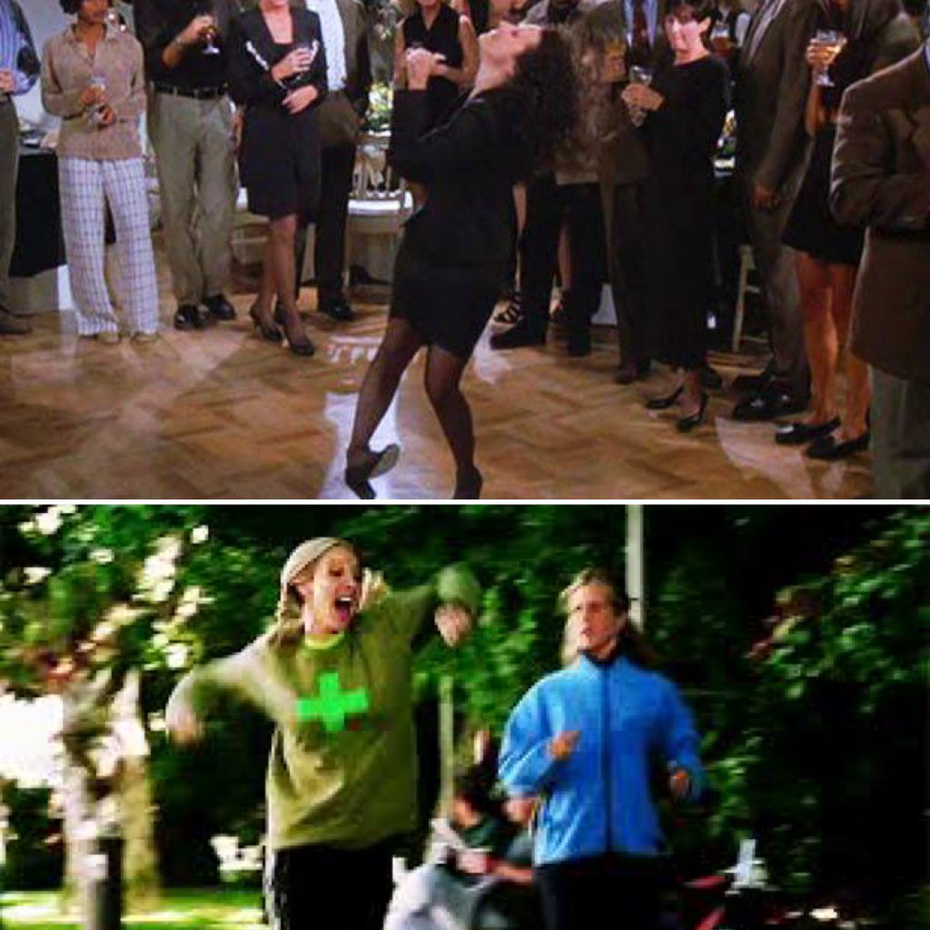 O que é mais constrangedor: Elaine dançando ou Phoebe correndo? #Seinfeld #Friends