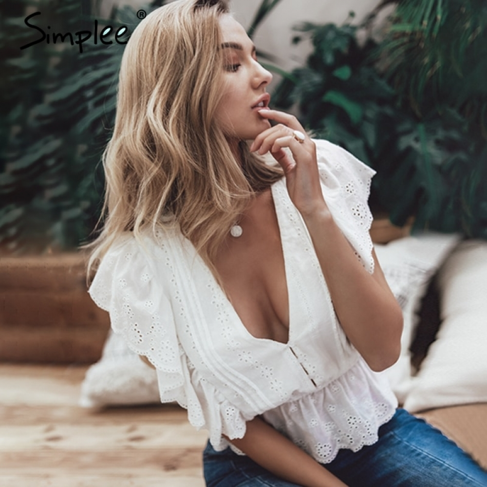 #shoes #pretty Simplee Sexy v neck summer blouse women Elegant ruffle high waist embroidery cotton shirt Fashion white blouse 2019 ladies tops