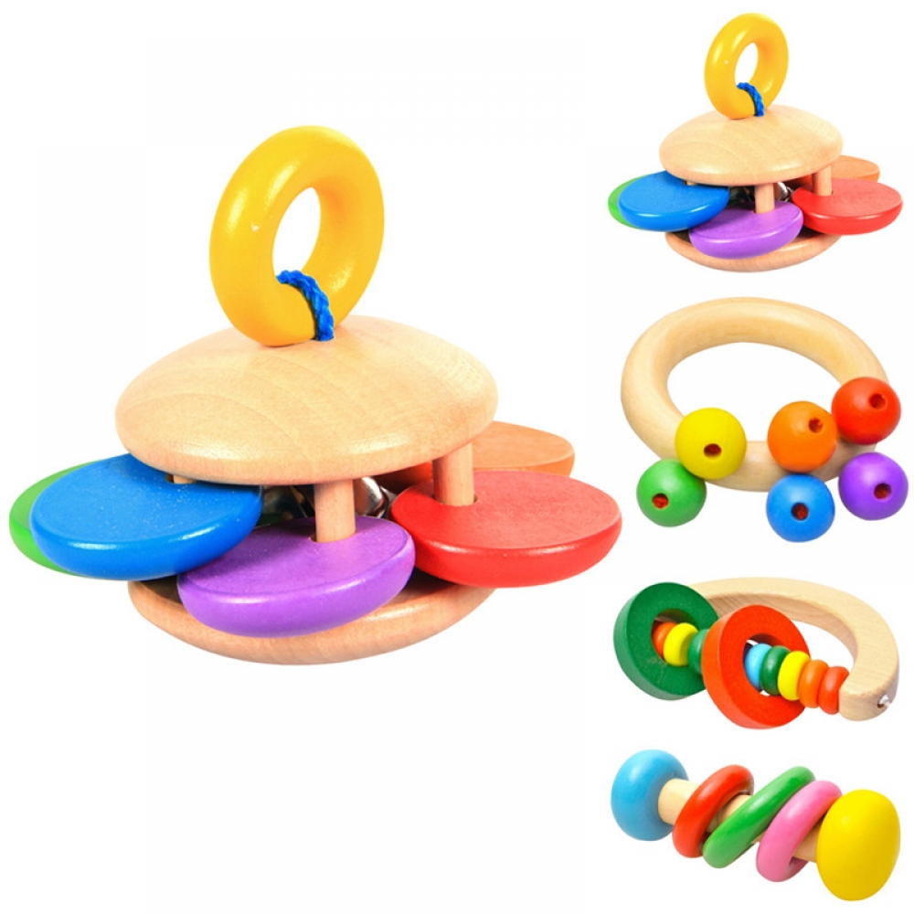 #smile #sweet Cute Amusive Colorful Wood Baby Rattle