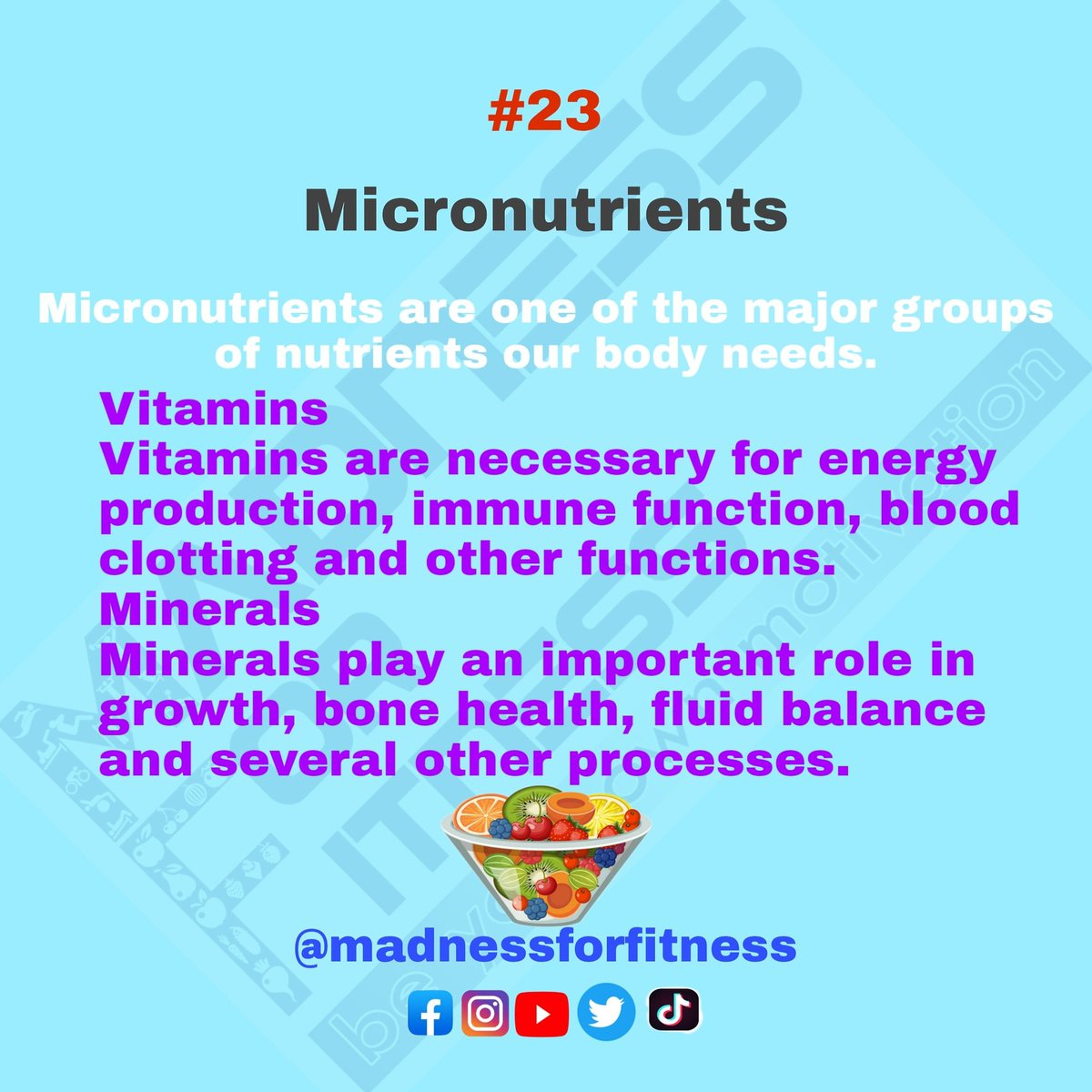 Micronutrients include vitamins and minerals. They're critical for several important functions in your body and must be consumed from food....Follow @madnessforfitness   #madnessforfitness #micronutrients #nutrition #diet #Homeworkout #IndiaFightsCorona #indianfitness pic.twitter.com/Vqlk38pTsg