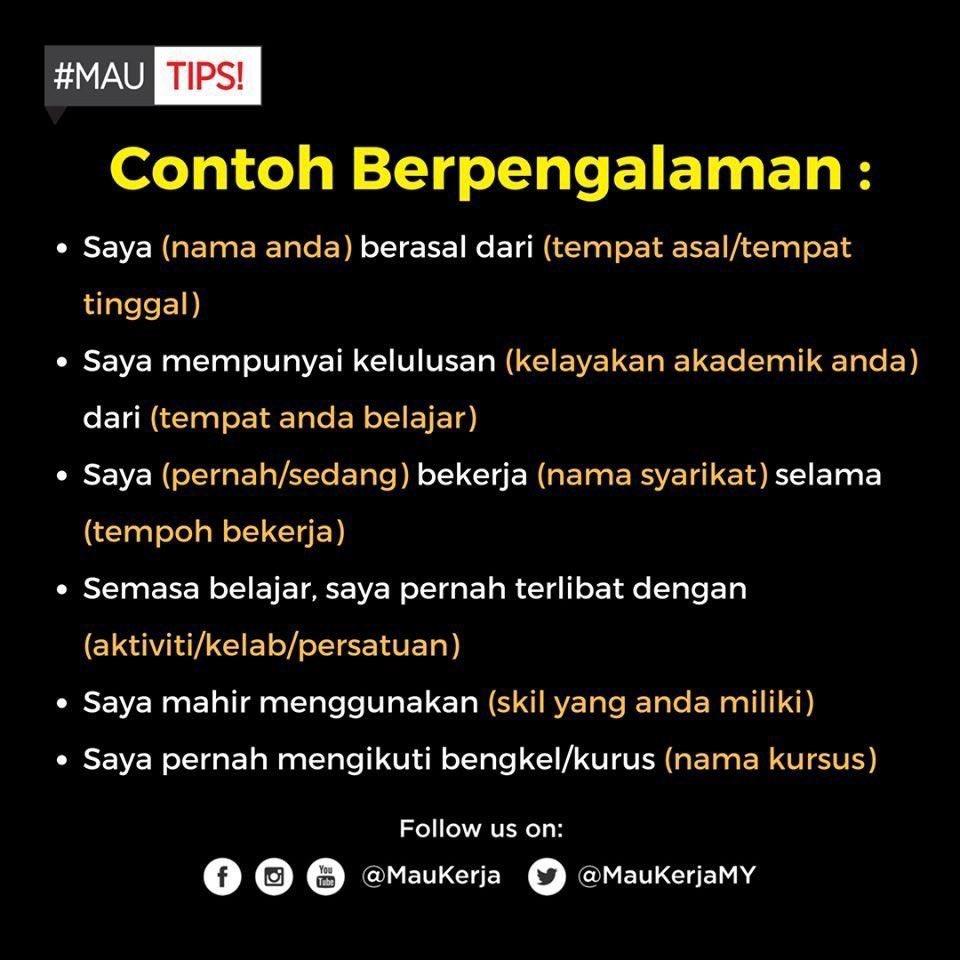 Resume Malaya On Twitter Cara Memperkenalkan Diri Semasa Temuduga Min Bagi Contoh Untuk Calon Yang Dah Ada Pengalaman Dan Fresh Grads Cr Maukerja Https T Co Yuhvezwart