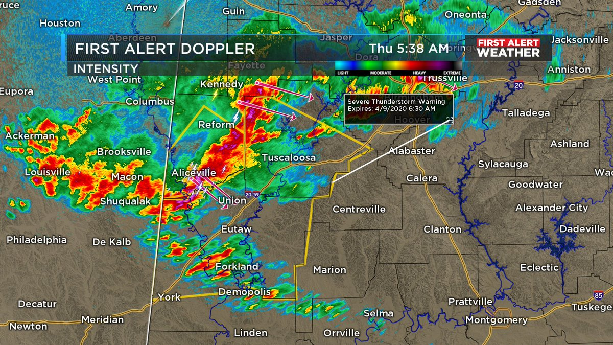 5:35 AM (4/9/2020): A Severe Thunderstorm Warning has been issued for Greene, Hale, Sumter, and Tuscaloosa counties until 6:30 pm. Main threats: Damaging winds up to 60 mph and large hail (quarter). #alwx #WBRCFirstAlert @WBRCnews