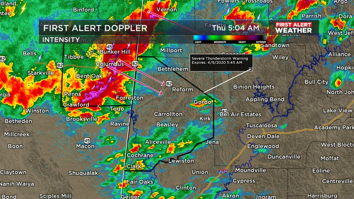 5:04 AM (4/9/2020): A Severe Thunderstorm Warning has been issued for Pickens County until 5:45 AM. Damaging winds up to 60 mph and quarter sized hail possible as it moves to the southeast at 60 mph. #alwx #WBRCFirstAlert @WBRCnews