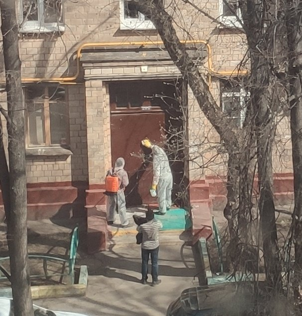 Disinfection teams clean the doors at houses entrances to prevent spread of COVID. #Russia #Moscow #COVIDー19pic.twitter.com/qwpdNQTou2
