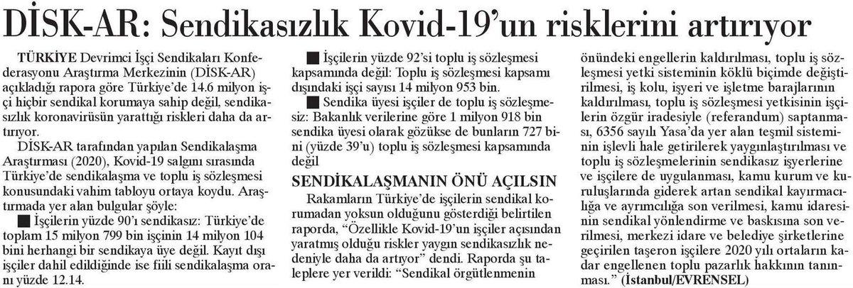 DİSK-AR COVID-19 Salgını Günlerinde Türkiye'de Sendikalaşmanın Durumu Araştırmasını yayımladı.