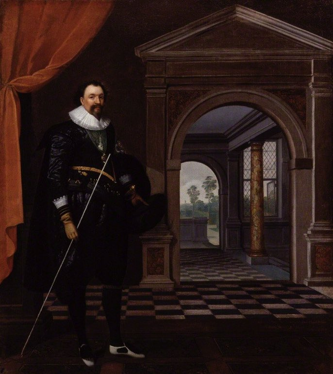 9 Apr 1630: William Herbert 3rd Earl of #Pembroke dines with Catherine Countess of Bedford a day after his 50th birthday - they laugh at a fortune tellers prediction that he wouldnt see 51. 8am next morning he collapses & dies at Baynards Castle #London (NPG)
