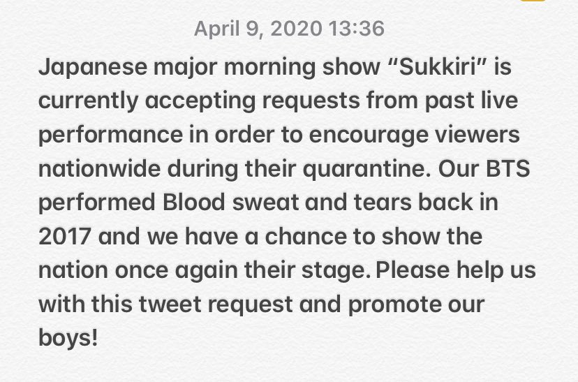 Let us help our J-ARMY request for @BTS_twt past live performance to be aired again on their Major Morning show. It will help promote our boys.  Just copy and paste and don't forget to tag BTS.    #スッキリライブ  #BTS  『血、汗、涙』 pic.twitter.com/ugGcZnpi93