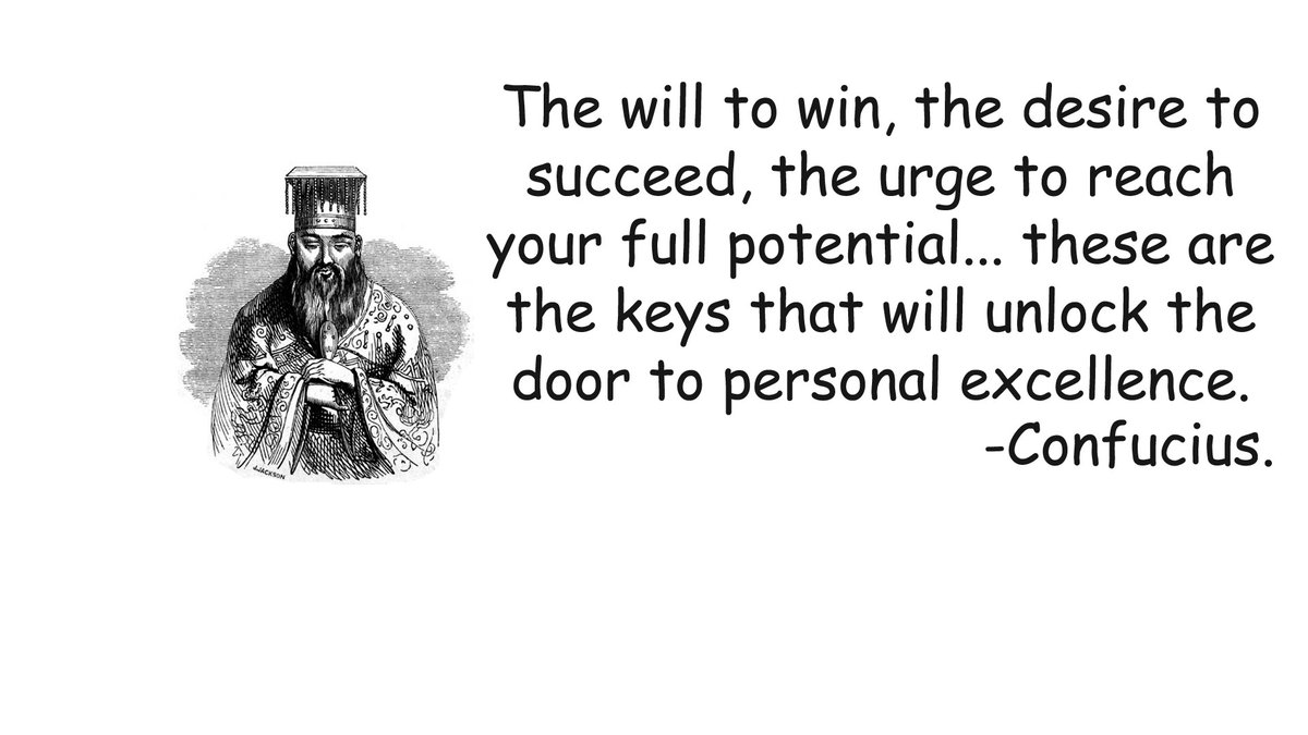 """""""The will to win, the desire to succeed, the urge to reach your full potential… these are the keys that will unlock the door to personal excellence."""" - Confucius #IQRTG pic.twitter.com/3WYTa7u3Ky"""
