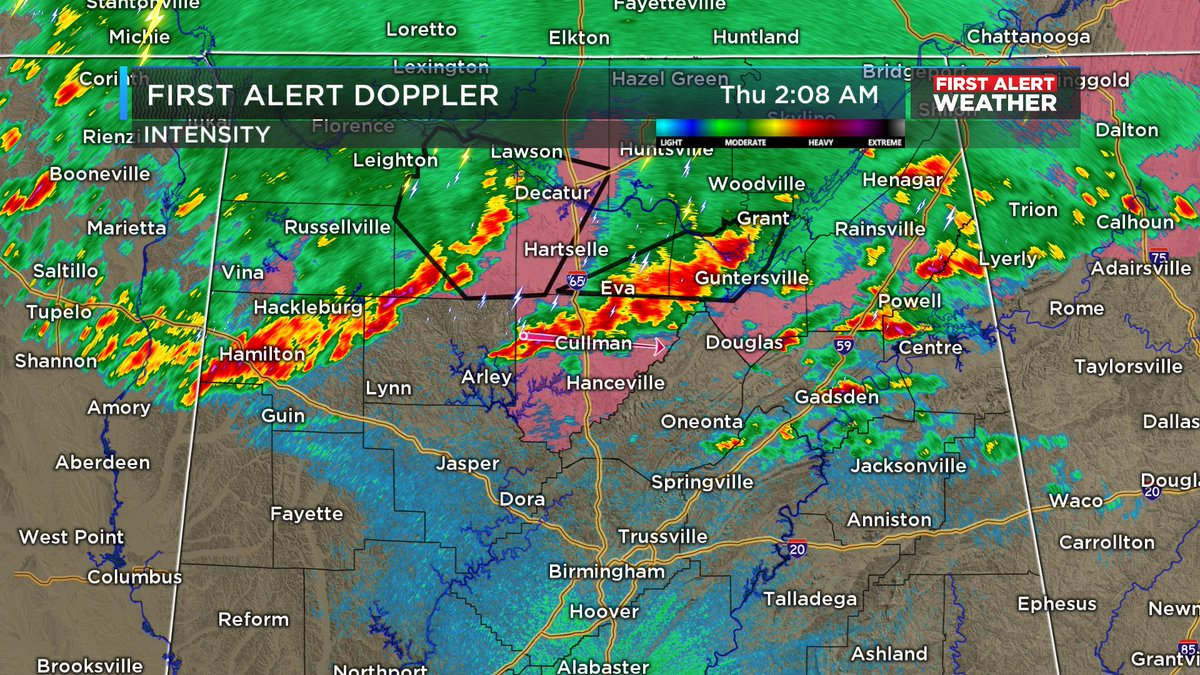 2:08 AM (4/9/2020): Looking at some broken clusters of thunderstorms moving to the southeast with active Severe T-Storm warnings in Morgan, Marshall, and Lawrence counties in north Alabama. Watch has not been extended. Still monitoring trends this morning. #alwx @WBRCnews