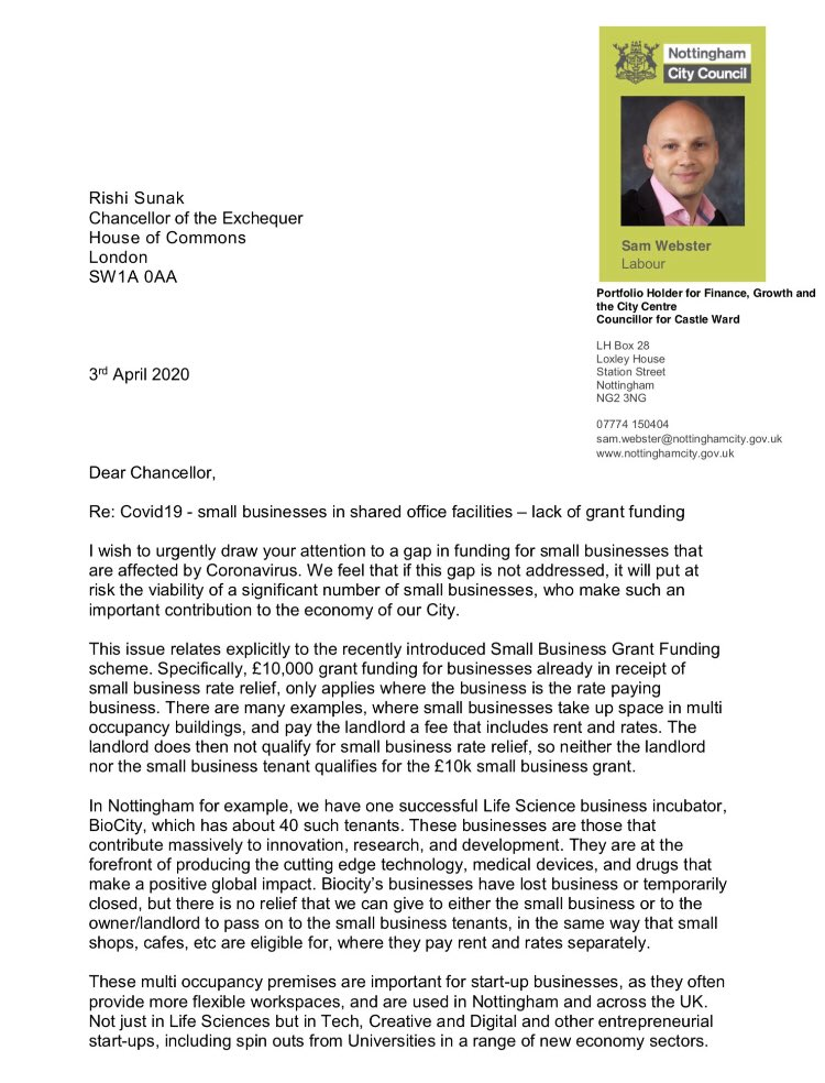@kennyfresh76 @GhufranShah @GrowingNottm I hope the Chancellor @RishiSunak will deal with this issue. We know how important it is to many small businesses in shared work spaces.