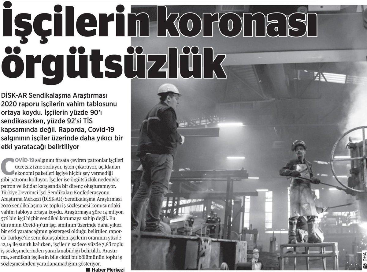 DİSK-AR (@disk_arastirma) COVID-19 Salgını Günlerinde Türkiye'de Sendikalaşmanın Durumu Araştırmasını yayımladı. O araştırmaya dair gazete haberleri 👇 Araştırmanın tamamı için ➡️ disk.org.tr/2020/04/disk-a…