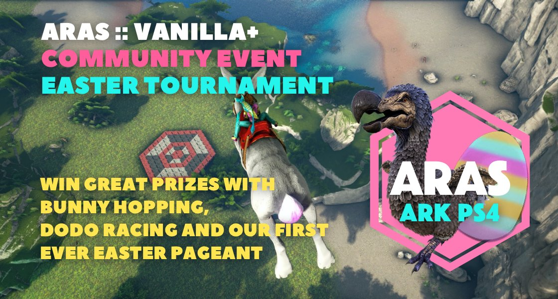 O man, I'm looking forward to this event! I tried it already, it's so … hard to land on that! #playark #eggcellentadventure4 #ArkSurvivalEvolved https://www.facebook.com/events/148062513312271/…pic.twitter.com/DwXHLwPJ9j