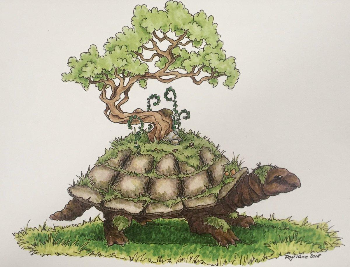 Ist schon eine Weile her, da habe ich diese kleine Bonsai Schildkröte gezeichnet. Mittlerweile gibt es eine Postkarte von ihr. #childrensillustration #ArtistOnTwitter #fantasyart #turtle #kidsbooks #illustration #childrensbookillustration pic.twitter.com/UDwbI3yks7