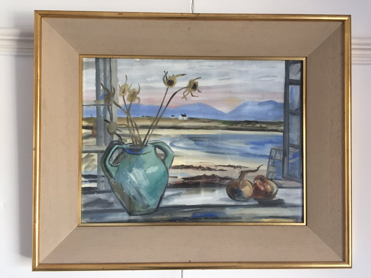 My #DailyArt today goes out to @Olfya specifically, because it contains a window. Looking out on a beach in Donegal, possibly by Norah McGuinness.pic.twitter.com/TV8KNXPx9R