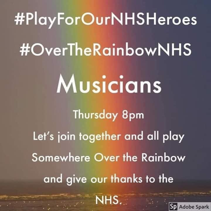 Calling all our fantastic #Musicians #SupportTheNHS #PlayForOurNHSHeroes #OverTheRainbowNHSpic.twitter.com/zOBxbusnGU