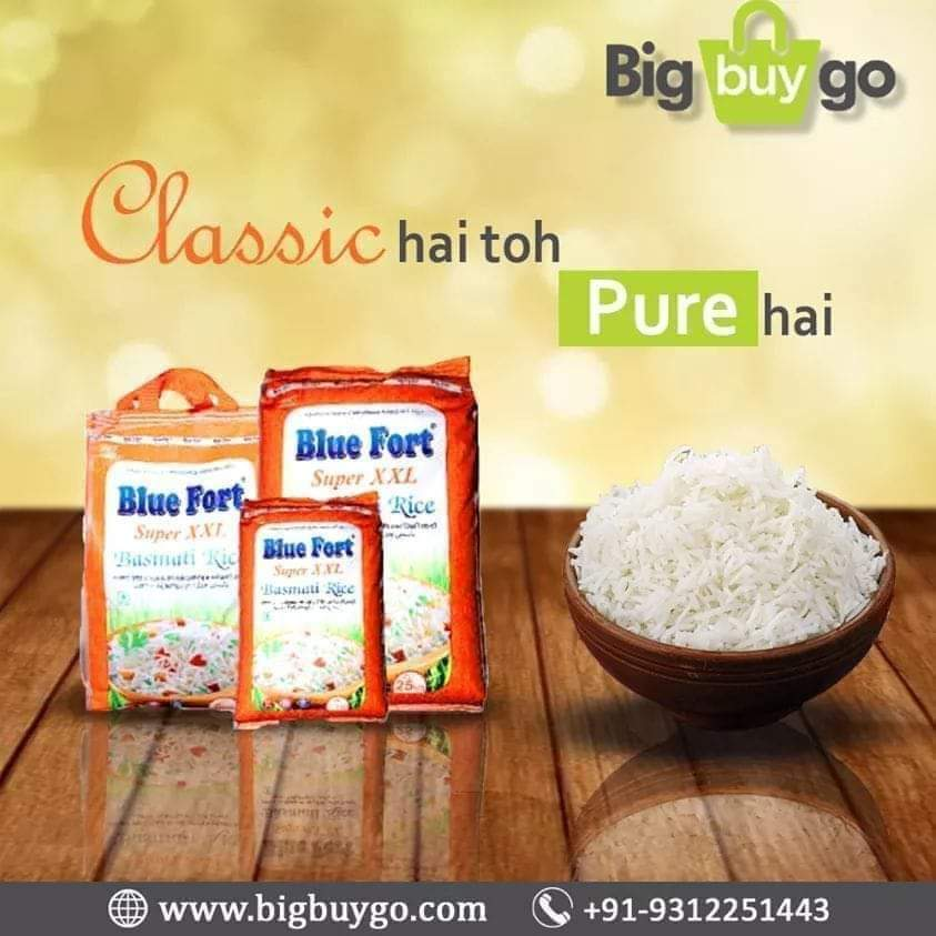 Classic Hai Toh Pure Hai Blue Fort Basmati Rice is widely demanded for making delicious dishes of rice like Biryani, Pulao and Fried Rice. Shop Now @  . . . . . . . . . . . . #BestBasmatirice #BluefortBasmatiRice #DeliciousFood #HomeCooking #Rice #RiceDish