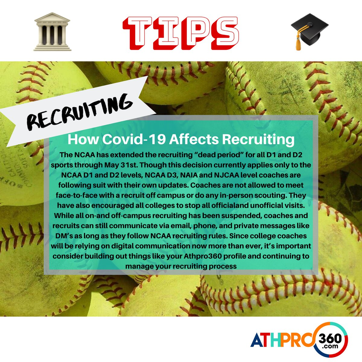 An important tip to keep in mind about college recruiting. ⁣  Of course, this same tip can apply to all sports ⁣  #collegerecruiting #recruitingtip #ncaa #softballers #softballgirls #softballlife #travelball #travelsoftball #softballmoms #softballdadspic.twitter.com/vnE68QmP2k
