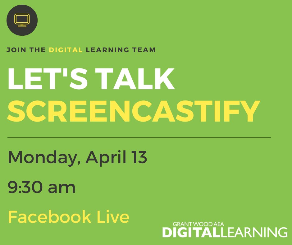 Mark your calendars, we are going to go Live on @Facebook next week! Well kick off the week talking about @Screencastify on Monday, April 13th at 9:30 am. See you there & bring your questions! #IAEdChat #GWAEALibs #EdTech #EdTechChat #covidEDU
