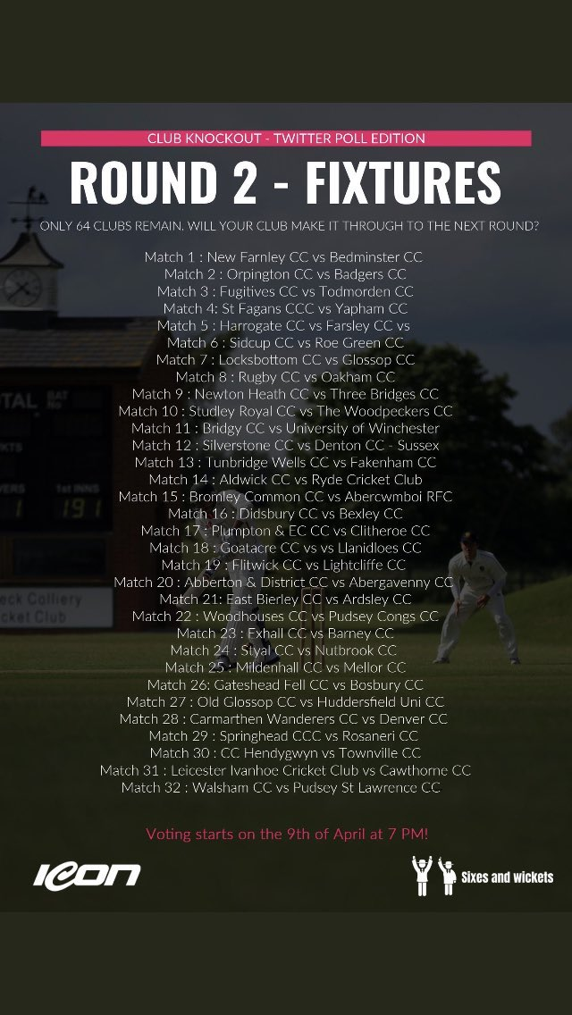 test Twitter Media - Round 2 of the @SixesANDwickets Twitter Poll KO Cup starts tonight at  7pm with 64 teams including 2 @somersetcb clubs!  @bedminstercc away in match 1   @BridgyCC home in Match 11  Can we get both teams into the last 32?  #CricketFamily #VoteBedminster #VoteBridgwater https://t.co/YLBiFL1mkP