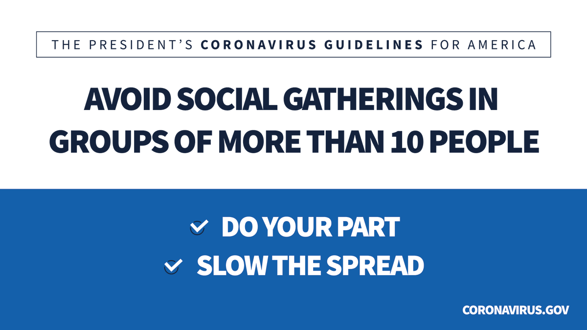 Avoid gatherings in groups of more than 10 people. Do your part. Slow the spread. Coronavirus.gov