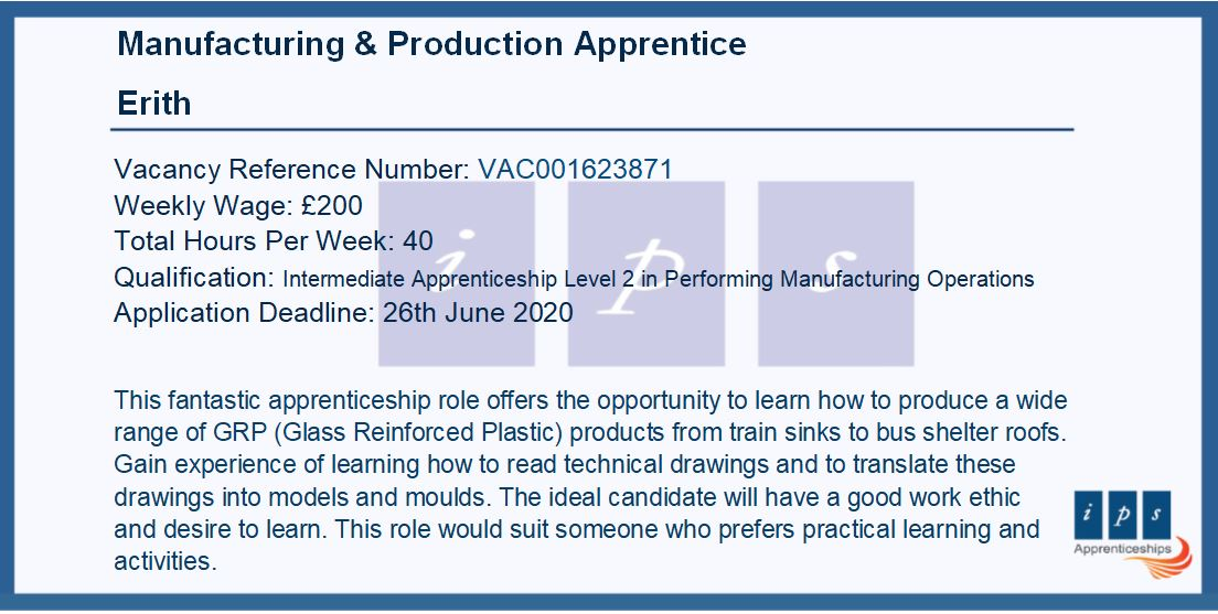 A great opportunity to learn how to produce a wide range of #Glass Reinforced #Plastic at #GRP Products #Manufacturer in #Erith.  Check out this #Apprenticeship Vacancy 👇    #ApprenticeshipVacancy #Apprenticeships #investinyourfuture
