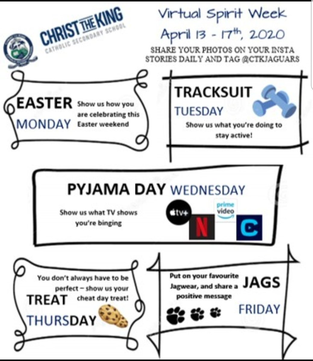 This coming Monday, @CtKHH will start our first ever Virtual Spirit Week! Show your Jaguar Pride and JOIN IN!!! https://t.co/se1k3fGn1x