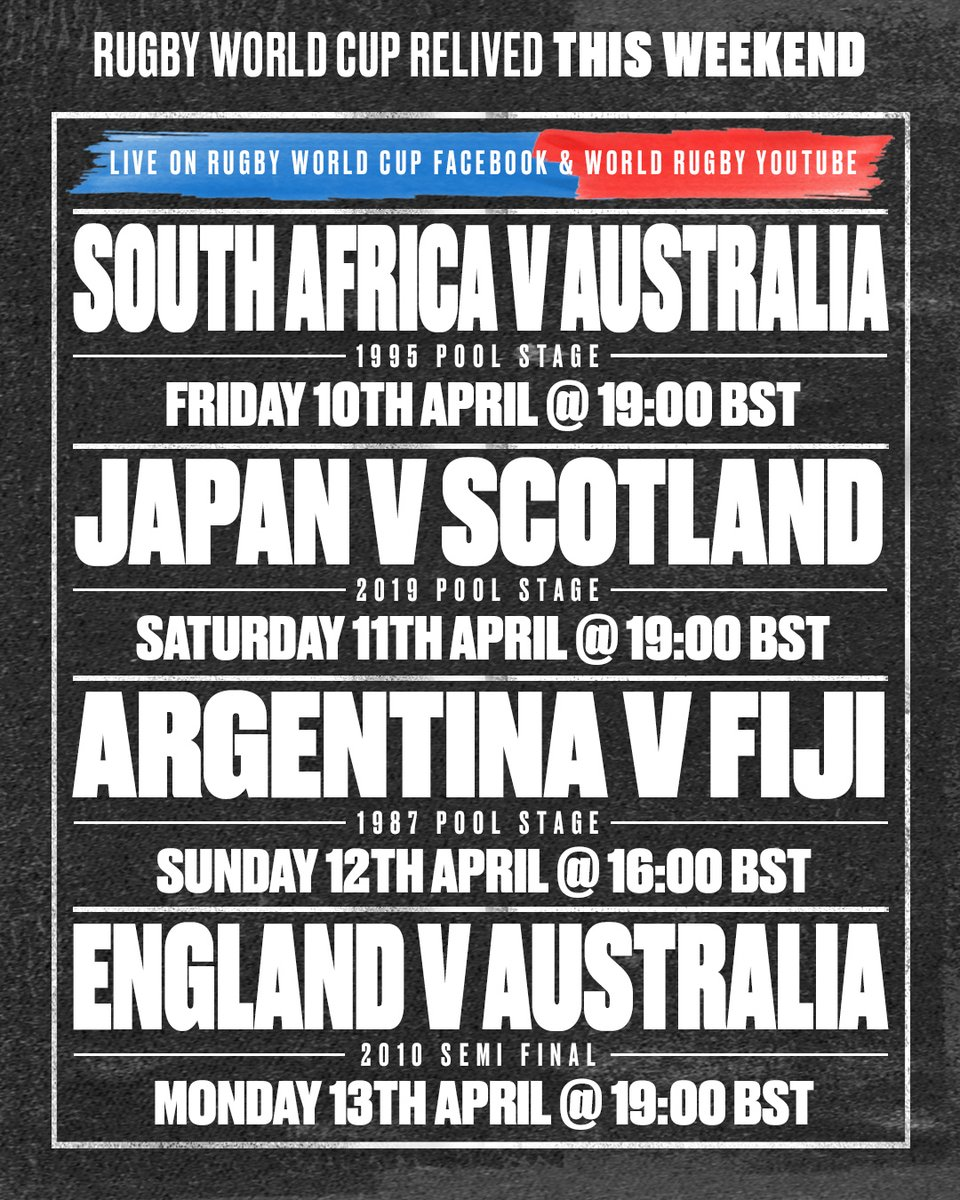 test Twitter Media - A whopping four games coming up this weekend 🍿  RWC 1995: 🇿🇦 🆚 🇦🇺 📆 Fri, Apr 10 🕖 19:00 BST  RWC 2019: 🇯🇵 🆚 🏴󠁧󠁢󠁳󠁣󠁴󠁿 📆 Sat. Apr 11 🕖 19:00 BST  RWC 1987: 🇦🇷 🆚 🇫🇯 📆 Sun, Apr 12 🕖 16:00 BST  RWC 2010: 🏴󠁧󠁢󠁥󠁮󠁧󠁿 🆚 🇦🇺 📆 Mon, Apr 13 🕖 19:00 BST  📺 RWC Facebook /  World Rugby YouTube https://t.co/FPdKBuOJQf