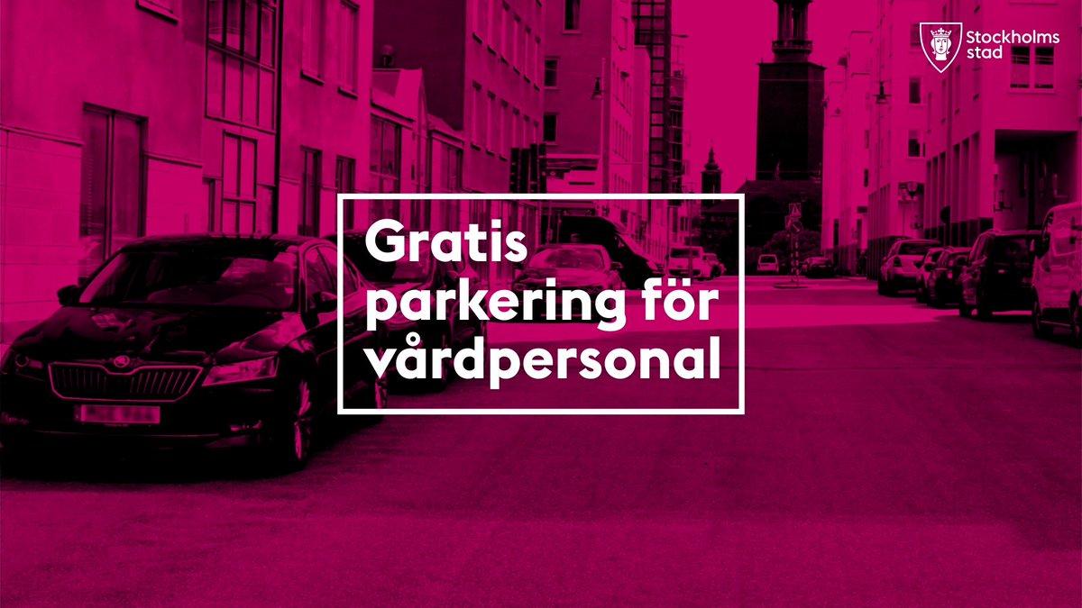Gratis parkering för vårdpersonal och MC  Vårdpersonal ska ha snabb och enkel tillgång till parkering för kunna undvika att vistas i offentliga miljöer och kollektivtrafik mer än nödvändigt.  Därför kan du som arbetar inom vården få möjlighet att parkera gratis. #COVID19SWEDEN--> https://t.co/AIlIaHD7Gm