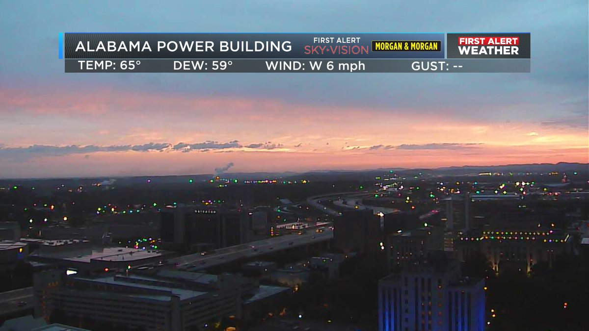 Looks like Mother Nature giving us a little bit of color and good news as these storms weaken and move out of Central Alabama. We should see sunshine this afternoon with highs in the mid 70s. It will be breezy at times with gusts near 20 mph. #alwx #sunrise @WBRCnews