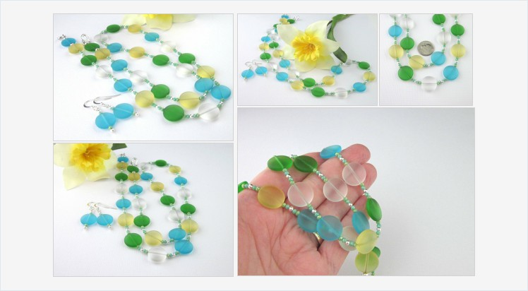 Sea Glass Coin Bead Necklace Earrings, Long Sea Glass Necklace, Multicolored, Blue, Yellow, Green, Colorful Pastel Necklace, Summer Necklace #bmecountdown  https://www.etsy.com/Thesingingbeader/listing/675655730/sea-glass-coin-bead-necklace-earrings?ga_search_query=green&ref=shop_items_search_5&frs=1…pic.twitter.com/iNkRfIS34V