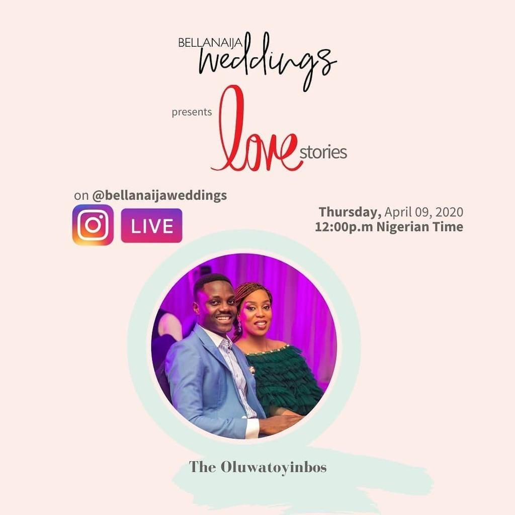 Hey fam, we are LIVE now with the Oluwatoyinbos (@tojuoluwatoyinbo & @damioluwatoyinbo ) for another episode of BellaNaija Weddings presents Love Stories.  Join us!  #BellaNaijaWeddings #AtHomewithBNpic.twitter.com/otMRSa4IvM