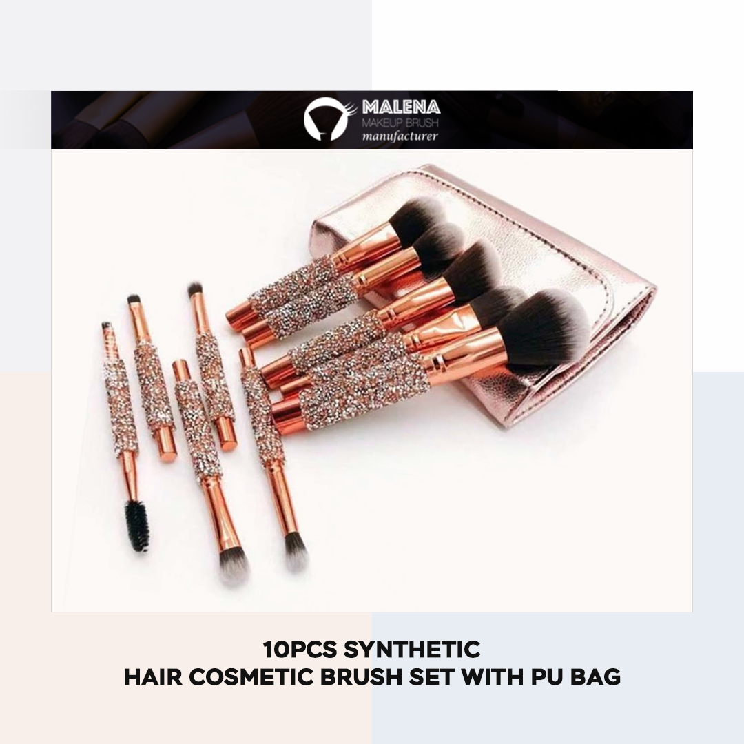 10PCS Synthetic Hair Cosmetic Brush Set with PU Bag  Learn more about us at  #MalenaCosmetics #manufacturer #Makeuptools
