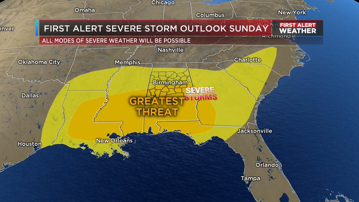 Now that the threat for severe weather has practically ended for Central AL this morning, we now focus on Easter Sunday. Theres a chance we could see a substantial threat for severe storms Sunday afternoon/evening for parts of the Southeast. We will keep an eye on it! #alwx