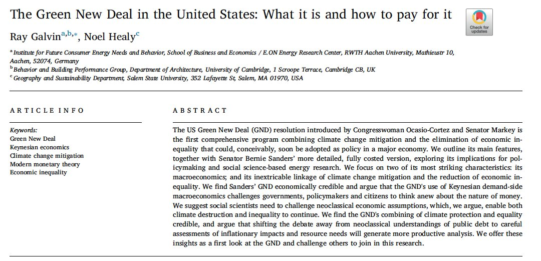 Our new study examines  @AOC| @EdMarkey's GND resolution &  @BernieSanders $16.3 trillion GND. We address 2 questions: (a) How can we pay for the  #GND?(b) In what ways do social welfare policies relate to tackling the climate crisis?*Open access* (1/n) https://www.sciencedirect.com/science/article/pii/S2214629620301067