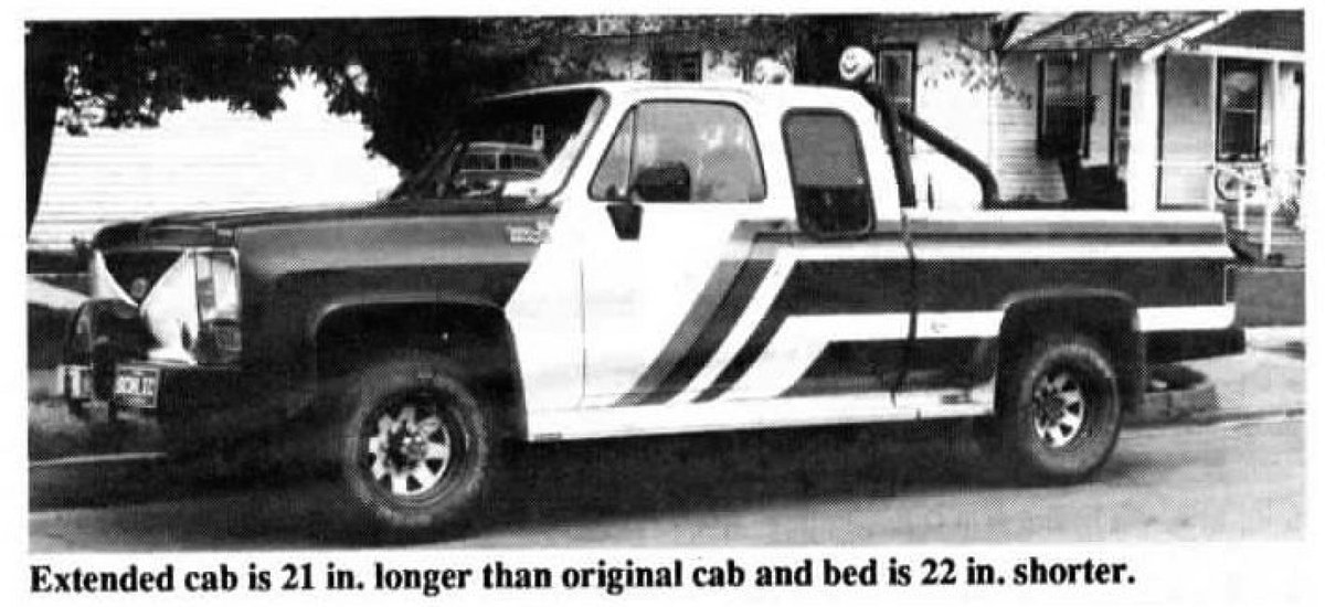 David Schlichenmayer, Burlington, Colo., beat General Motors to the punch by equipping his 1975 Chevrolet 3/4-ton pickup with an extended cab. #pickup #extendedcab #chevy #ThrowbackThursday