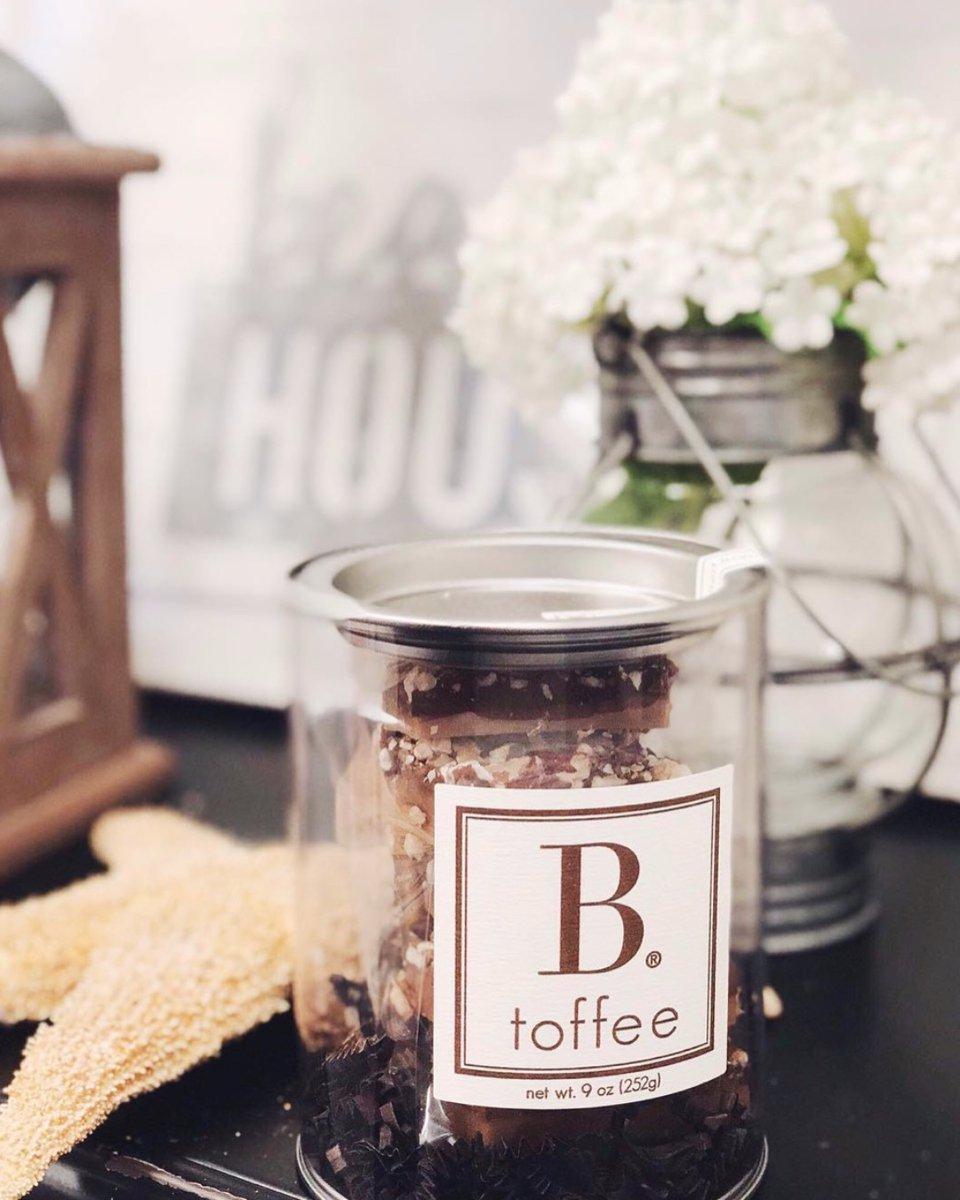 Simple, elegant, and timeless! B. toffee is Simply the Best! ✨  #btoffee #yum #dessert #chocolate #local #newport #toffee #foodie #simplythebest #canister #customgifting #custom #gift #favor #wedding #corporate #party #event