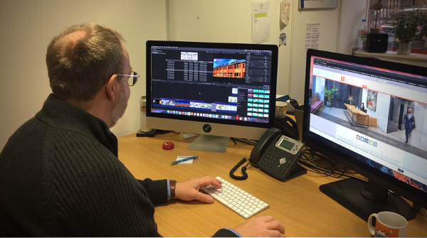 Here's a photo of our #visual Director, Martin, creating a #video from #photos a client had sent into us.  It shows that you don't necessarily have to start from scratch. A little bit of editing magic can take the raw materials & show them off in a completely different way! pic.twitter.com/7ZdQvVYFQo