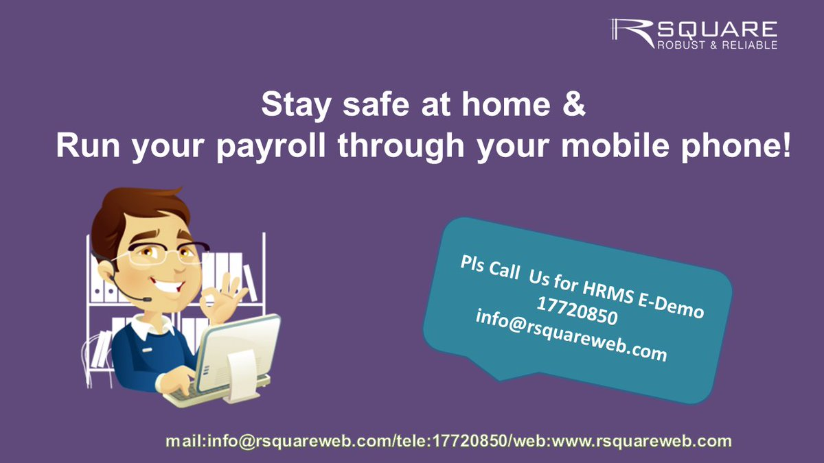 Stay safe at home & Run your payroll through mobile!.   To automate your HR activities with a simple click of a button. Please call us for HRMS E-demo 17720850/ info@rsquareweb.com #hrsoftware #bahrainfintechbay #bahrain #rsquare #software #hrms #webbasedsolutions https://t.co/B7HRYtQAy3