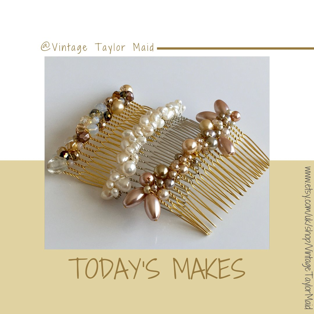 I've finished rephotographing all the hair combs, and even remade some of those that had sold out...I'm rather pleased with myself! #bizhour #hairaccessories #wedding