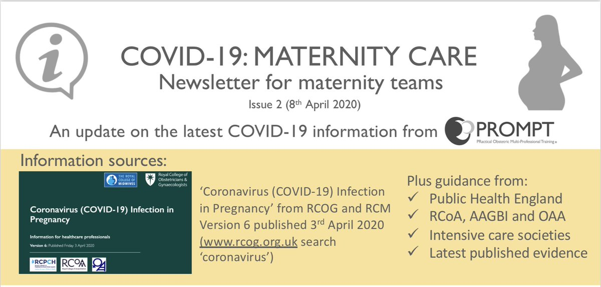 NEW** PROMPT COVID-19 Issue 2 Newsletter now available - The PROMPT team have collated the latest COVID-19 guidance and information from the RCOG, RCM, RCoA, OAA, AAGBI, RCPCH, FICM, ICS and Public Health England. Visit: https://t.co/o5yKXT7Wh6 https://t.co/94628FXfaH